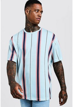 Herr Pale blue Oversized T-Shirt In Vertical Stripe