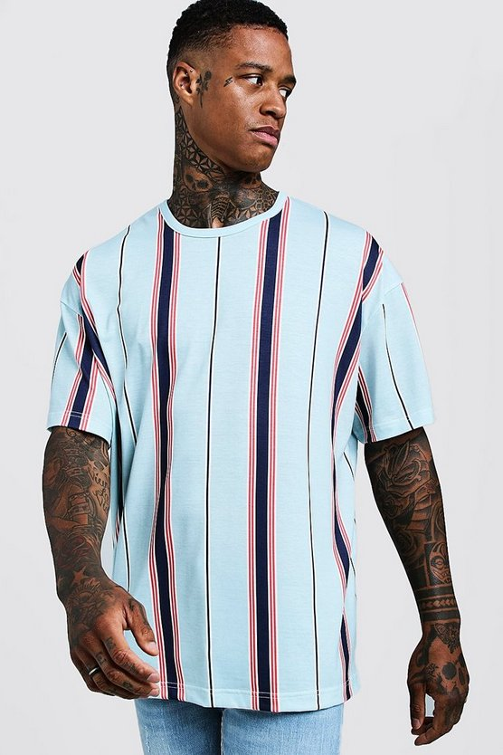 Mens Pale blue Oversized T-Shirt In Vertical Stripe