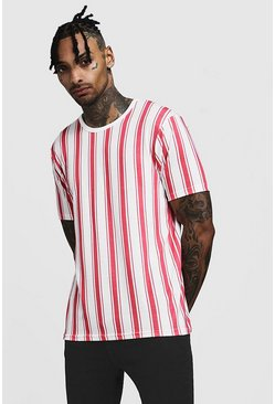 Mens Pink T-Shirt In Vertical Stripe
