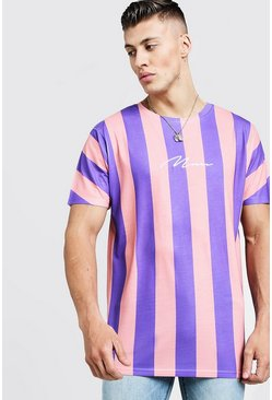 Mens Purple MAN Signature Oversized Pastel Stripe T-Shirt