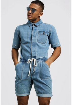 Mens Vintage wash Short Length Denim Jumpsuit
