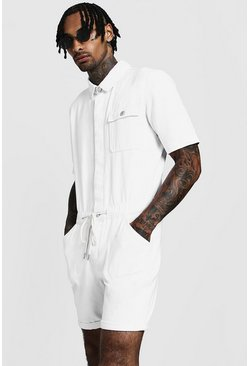 Mens White Short Length Denim Jumpsuit