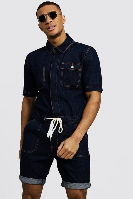 Mens Indigo Short Length Denim Jumpsuit
