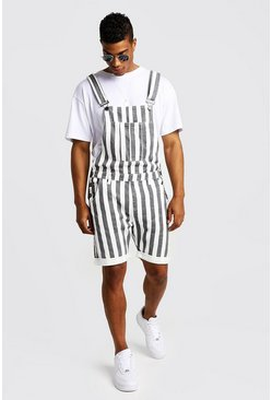 Mens White Slim Fit Short Dungarees With Printed Stripe