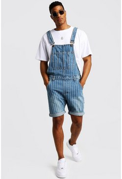 Mens Blue Slim Fit Short Overalls With Printed Stripe