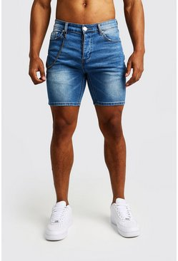 Herr Blue Skinny Fit Denim Shorts With Chain Detail