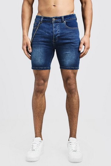 Mens Dark blue Skinny Fit Denim Short With Chain Detail