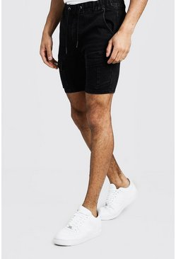 Mens Washed black Skinny Fit Cargo Denim Shorts