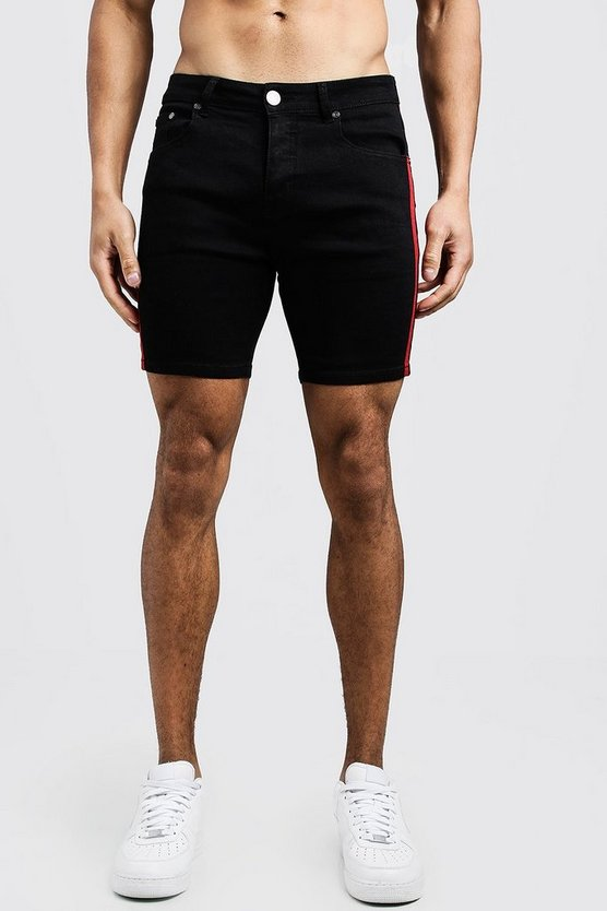 Mens Black Skinny Fit Denim Shorts With Side Tape