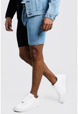 Mens Black Slim Fit Denim Short With Contrast Detail