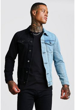 Mens Black Denim Jacket With Contrast Detail