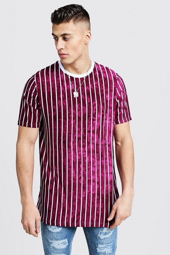 Mens Purple Longline T-Shirt With Tie Dye Stripes