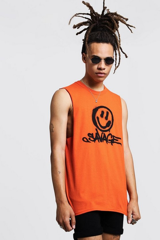 Orange Savage Face Print Tank