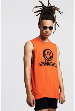 Mens Orange Savage Face Print Tank