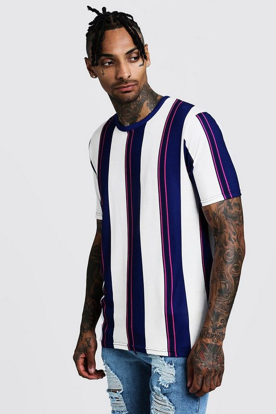 Mens Navy Vertical Stripe T-Shirt