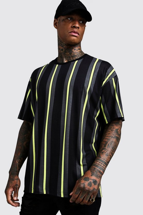 Black Oversized Vertical Stripe T-Shirt