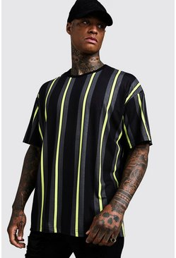 Herr Black Oversized Vertical Stripe T-Shirt