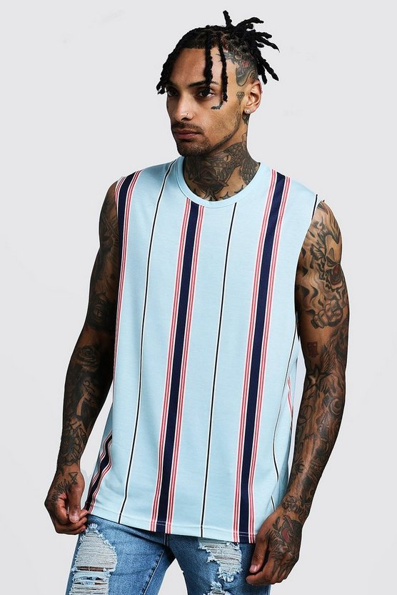 Mens Pastel blue Tank With Printed Vertical Stripe