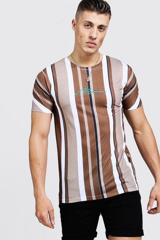Mens Tan MAN Signature Stripe T-Shirt