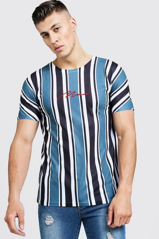 Mens Light blue MAN Signature Stripe T-Shirt