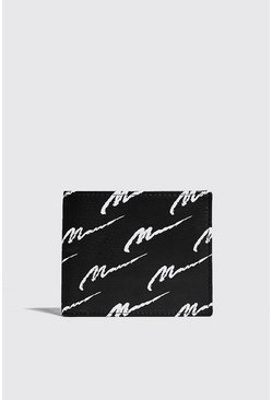 Mens Black Real Leather MAN Print Wallet