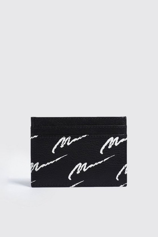 Mens Black Real Leather MAN Print Cardholder