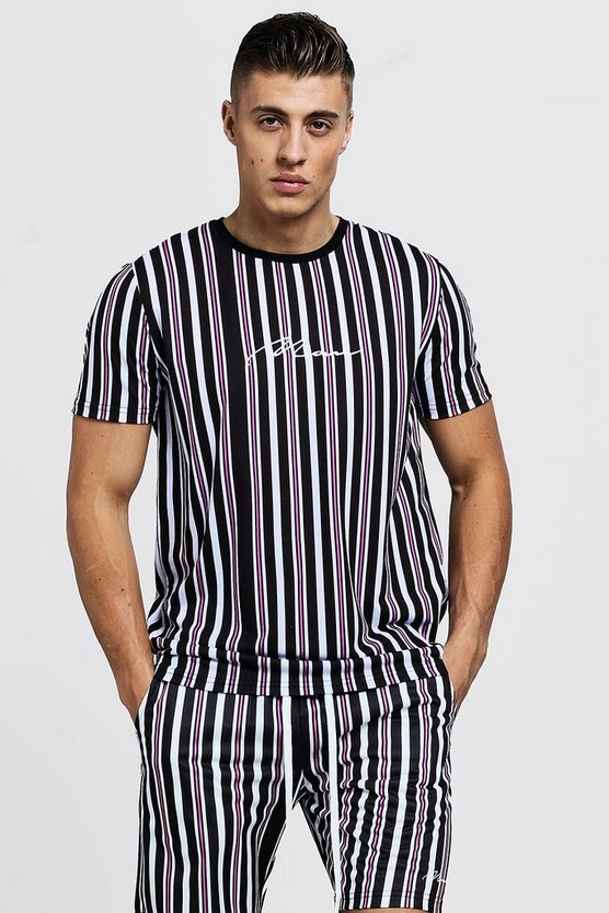 Mens Pink MAN Signature Stripe T-Shirt & Short Set