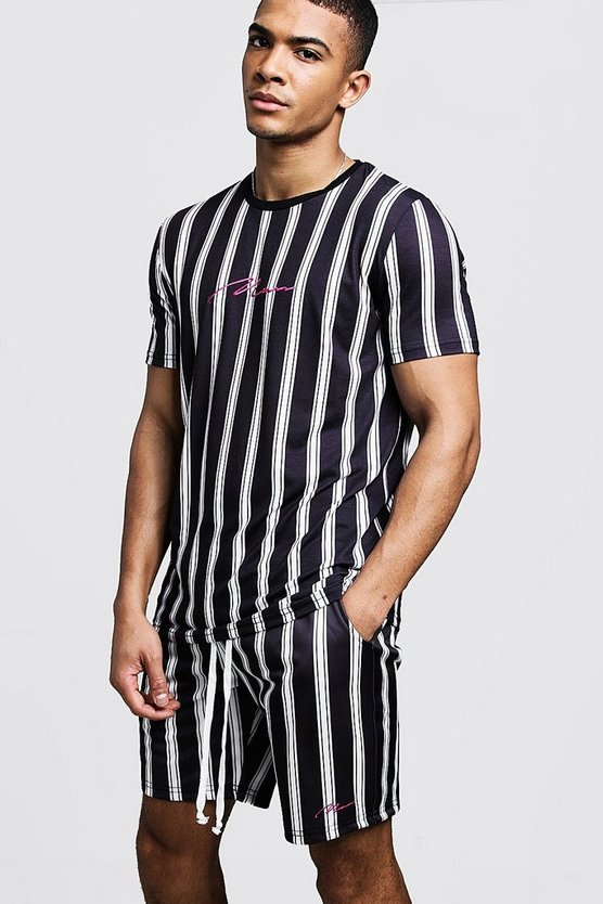 Mens Black MAN Signature Stripe T-Shirt & Short Set