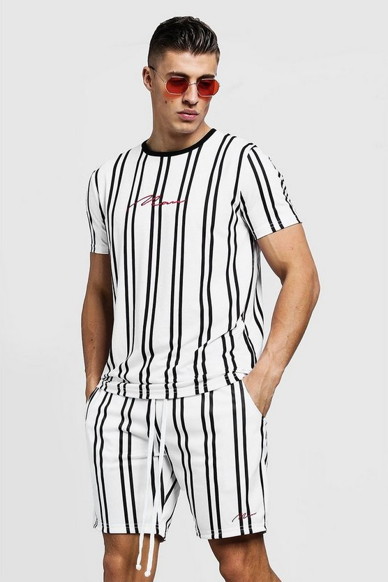 Mens White MAN Signature Stripe T-Shirt & Short Set