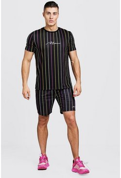Mens Multi MAN Signature Stripe T-Shirt & Short Set