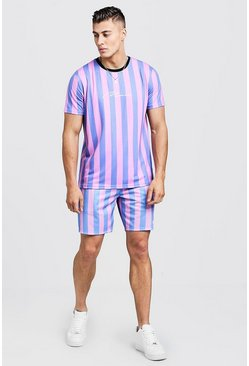 Mens Bubblegum MAN Signature Stripe T-Shirt & Short Set