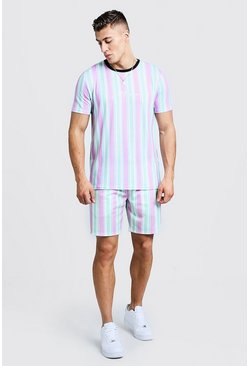 Mens Green MAN Signature Stripe T-Shirt & Short Set