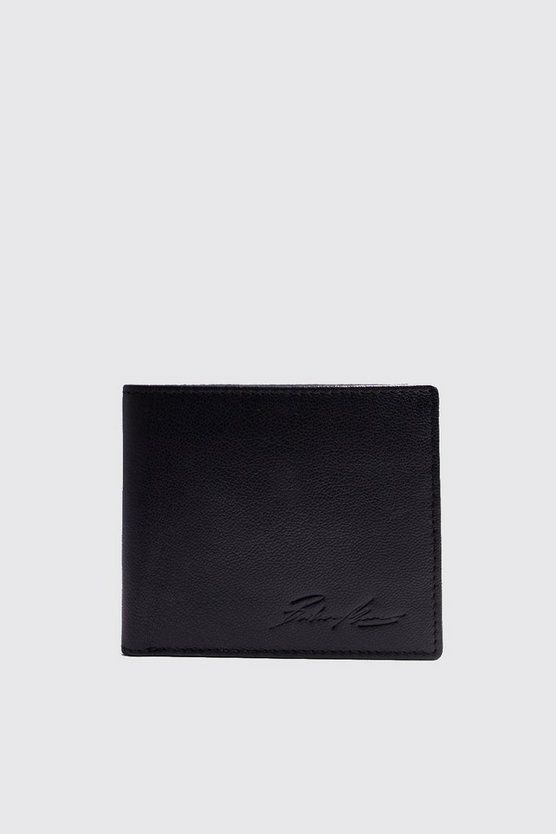 Mens Black Real Leather Wallet With Coin Pockets