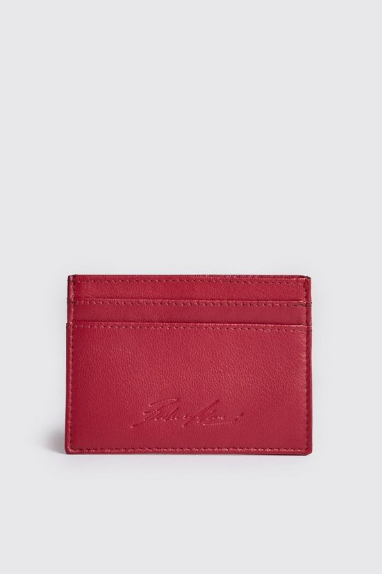 Mens Red Real Leather Embossed Card Holder