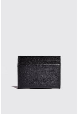Herr Black Real Leather Saffiano Card Holder