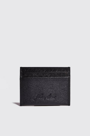 Mens Black Real Leather Saffiano Card Holder
