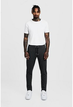 Mens Charcoal Pinstripe Smart Jogger Pants