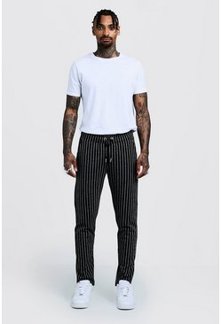 Mens Black Pinstripe Smart Jogger Pants