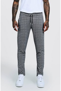 Mens Grey Window Pane Check Smart Jogger Pants
