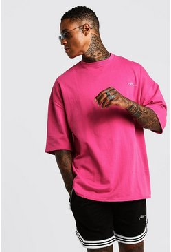 Ensemble T-shirt & Short oversize MAN Signature avec bande, Rose, Homme