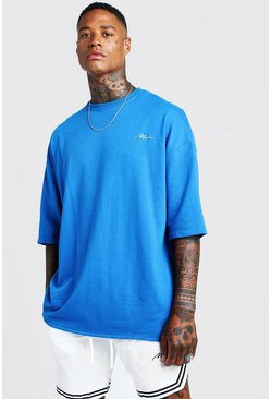 Mens Cobalt MAN Signature Oversized Tee & Short With Tape