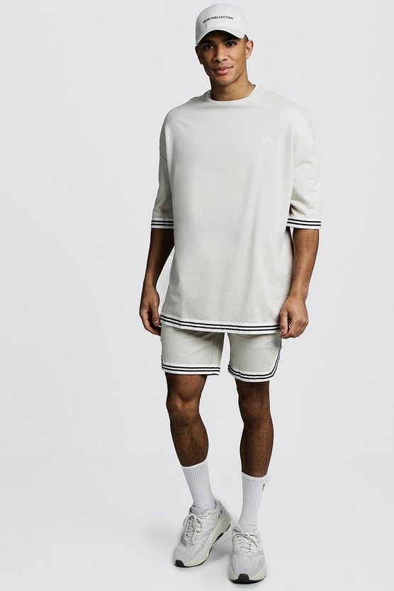 Mens Taupe MAN Signature Oversized Tape T-Shirt & Short