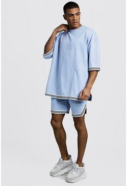 Mens Light blue MAN Signature Oversized Tape T-Shirt & Short