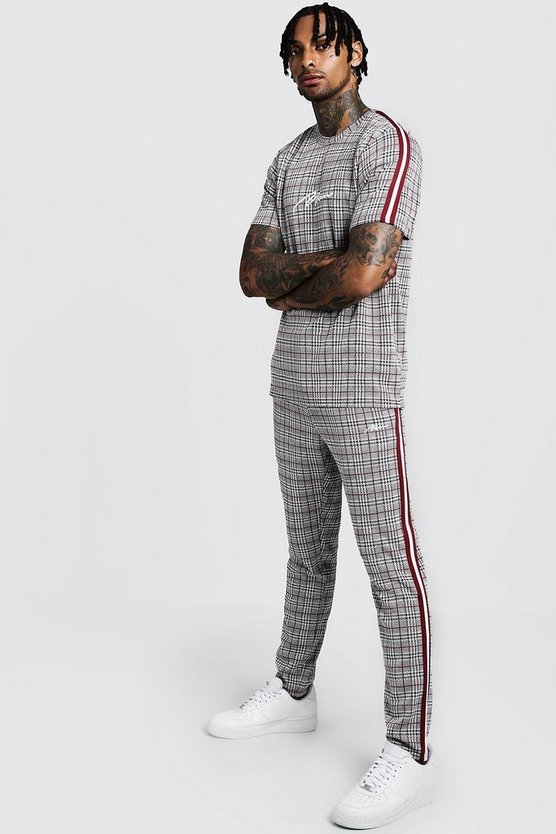 Mens Red MAN Signature Check T-Shirt & Jogger With Tape