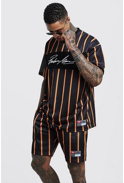 Mens Orange MAN Autograph Stripe Airtex Tee & Short Set