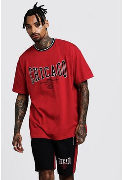 Mens Red Oversized T-Shirt & Short Set With Chicago Print