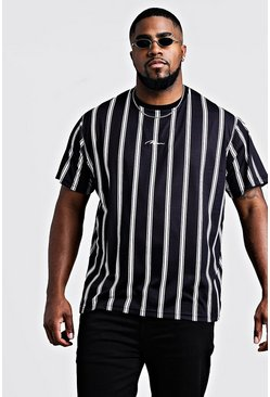 Mens Black Big & Tall Stripe MAN Signature T-Shirt