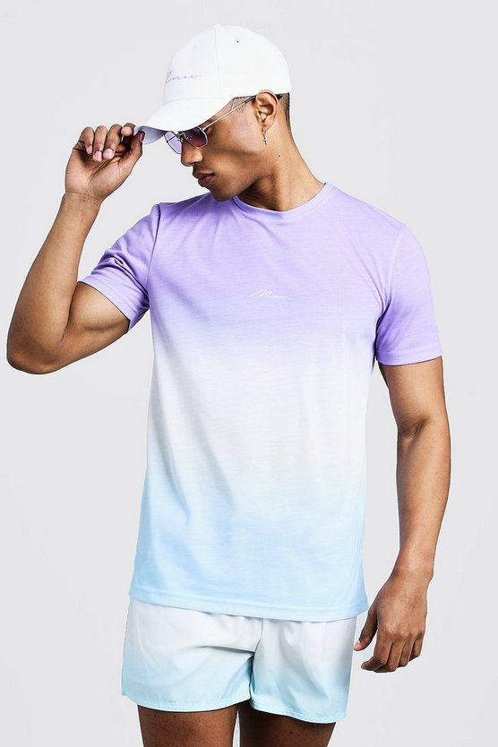 Purple MAN Signature Faded T-Shirt & Swim Short