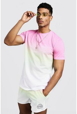 Mens Pink MAN Logo Faded T-Shirt & Swim Short Set