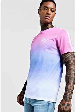 Mens Light pink BM Logo Faded T-Shirt With Tape Detail